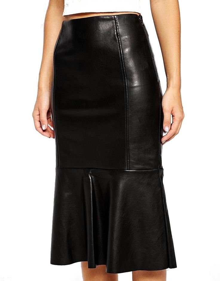 Royal Outfit Genuine Soft Lambskin Leather Skirt for Women - Black at Amazon Women's Clothing store: