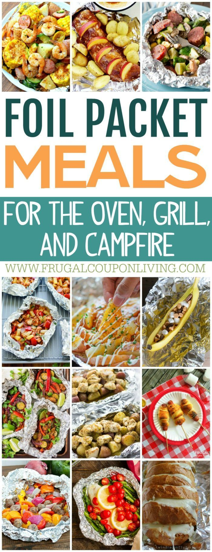 Creative and fun Foil Packet Meals for the grill, oven or campfire on Frugal Coupon Living. Delicious recipes and various cooking techniques to make the most creative foil pack entrees, desserts, sides and more!
