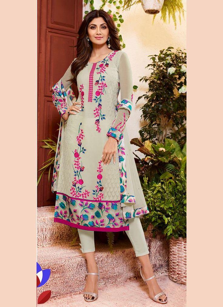 Shilpa Shetty Off White Churidar Designer Suit