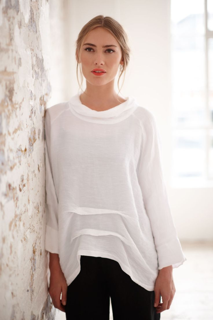 Shimmer Linen Cowl Neck Top in white | Sahara Pre-AW16