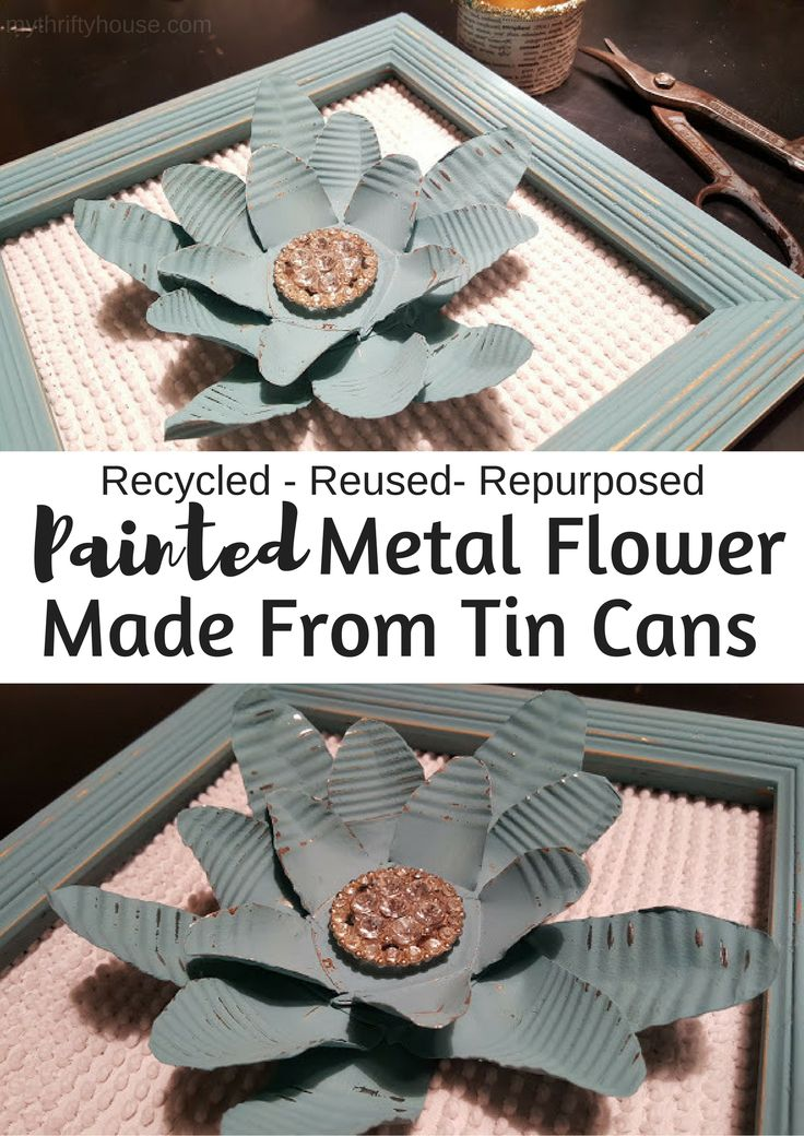 Painted Metal Flower Made from Tin Cans