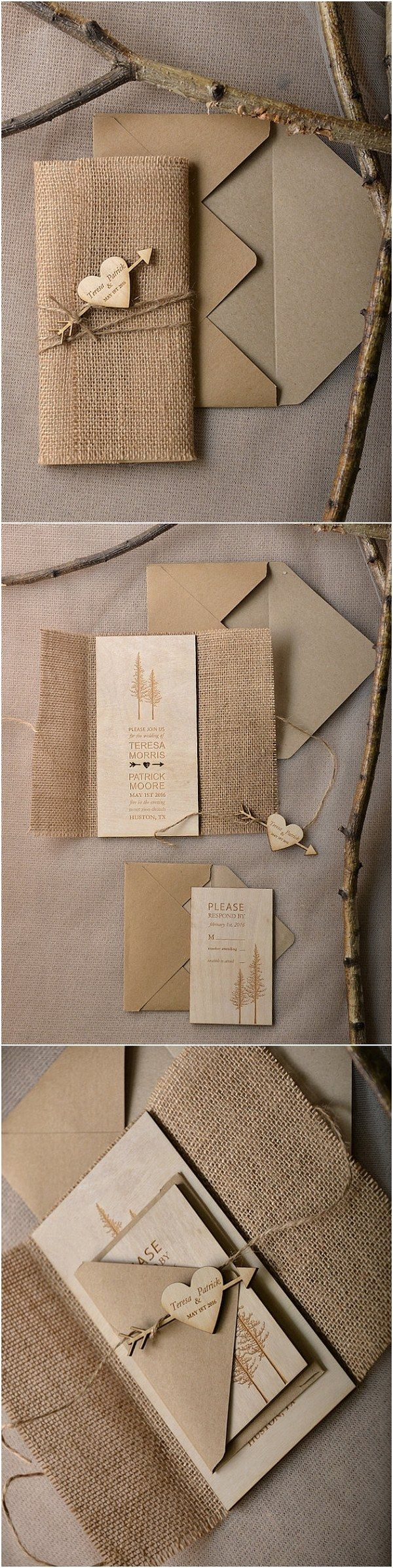 Rustic country burlap string lights lace wedding card - Rustic Country Burlap And Real Wood Wedding Invitations Rusticwedding Countrywedding Dpf