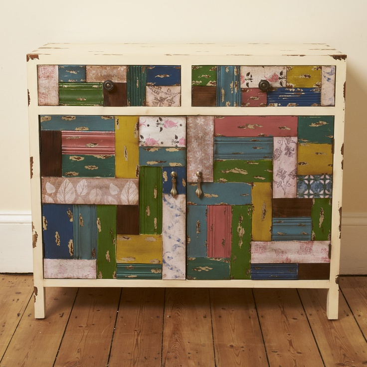 ACHICA | Patchwork Wood Cabinet