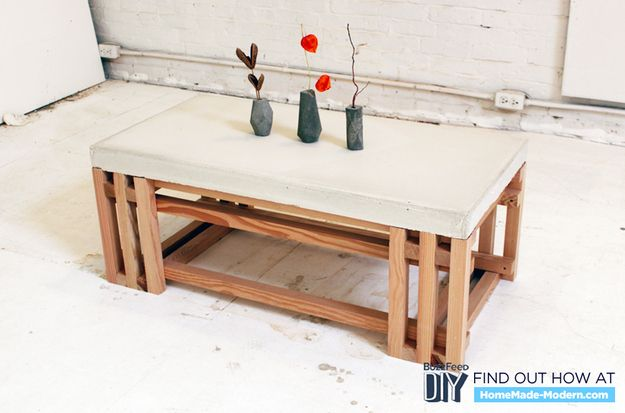 Concrete coffee table diy woodworking projects plans for Concrete coffee table
