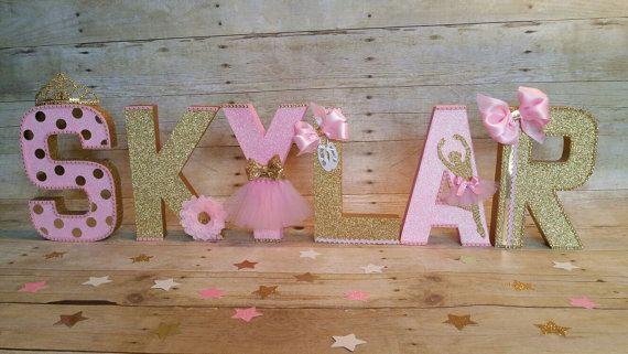 Letras de color de rosa y oro Letras de por HeidiPartyCreations