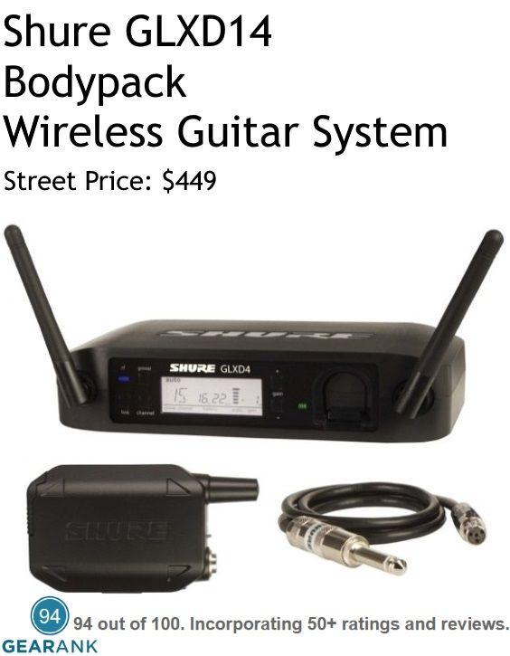 Shure GLXD14 Bodypack Wireless Guitar System.  In March 2017 this was the Highest Rated Wireless Guitar System Under $500.  For a detailed guide to The Best Wireless Guitar Systems Under $500 see https://www.gearank.com/guides/guitar-wireless-systems