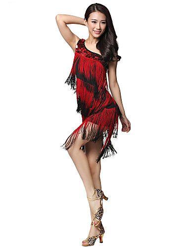 Dancewear Viscose Dança Latina de um ombro vestido com borlas para senhoras de 2016 por $39.99