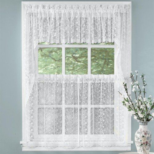 Brylanehome Priscilla Tier Curtains by BrylaneHome. $8.99. The delicate look of sheer all-over floral scrolled bridal lace curtains makes an elegant statement on any window.    • finished with scalloped bottoms  • available in two colors: White or Ivory • polyester • machine wash  • imported  • complete the light touch of this look with our Priscilla tailored valance • and for the rest of your home, check out our selection of bright and beautiful blinds and...