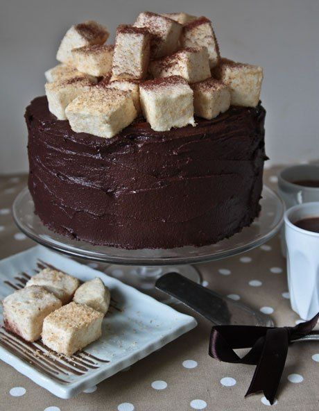 """Hot"" chocolate layer cake with a delicate souffle  Ingredients:  180 grams of butter  3 cups flour 3/4 Cup vegetable oil 1 Cup water 60 ml coffee 140 grams of dark chocolate 3 cups of powdered sugar or very fine sugar 3/4 Cup cocoa 3 eggs room temperature 3/4 Cup buttermilk 2 teaspoons vanilla 100 grams roasted pecans 2,5 teaspoon o... - Check more at http://recipesworthsharing.com/2016/03/17/hot-chocolate-layer-cake-with-a-delicate-souffle/"