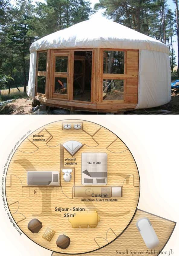 Je me suis toujours demandée comment on pouvait agencer le nécessaire dans une maison ronde...