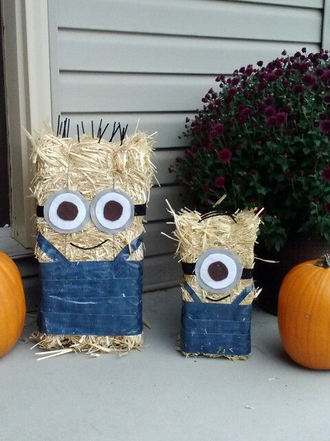 Minion hay bales!!! Used denim duck tape, different color felt, pipe cleaners, and a hot glue gun. Whala!! So fun!!!