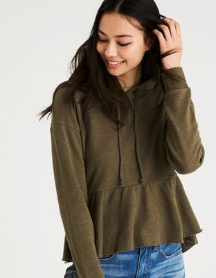AE PEPLUM HOODIE by  American Eagle Outfitters | Easy, versatile, effortless style. Does it get any better than that?Easy, versatile, effortless style. Does it get any better than that? Shop the AE PEPLUM HOODIE and check out more at AE.com.