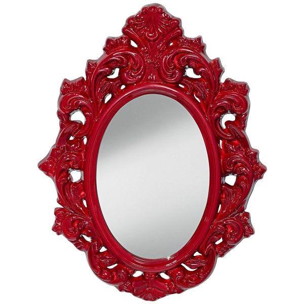 "Feiss Shiera 24 1/2"" x 32 1/4"" Crimson Lacquer Mirror found on Polyvore"