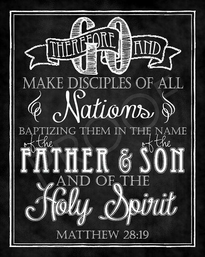 Scripture Art Matthew 28:19 Chalkboard by ToSuchAsTheseDesigns