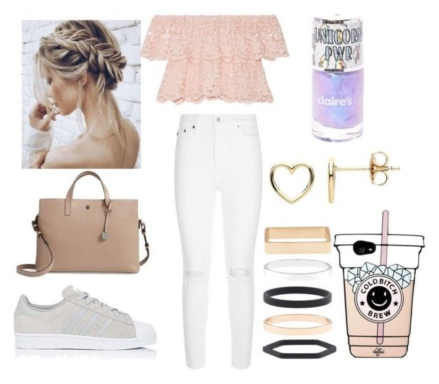 """Untitled #10"" by amcracea-1 ❤ liked on Polyvore featuring Lodis, Miguelina, AG Adriano Goldschmied, adidas, Estella Bartlett and Accessorize"