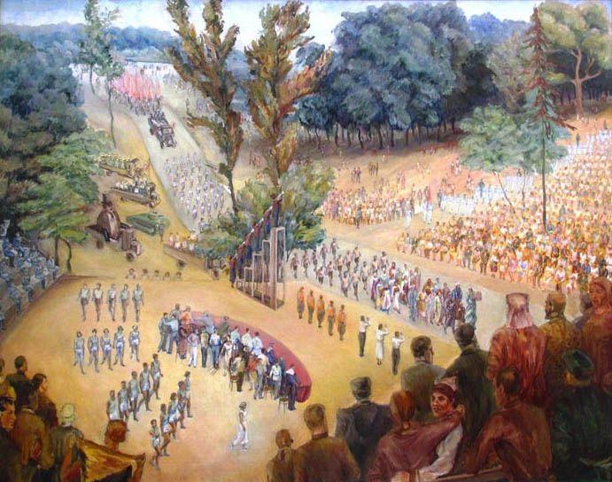 """С. А. Лучишкин, """"Митинг"""", 1932 г., х. м. (ГТГ)"""