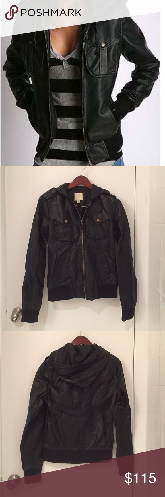 Urban Outfitters Faux Leather Hooded Bomber Jacket Showstopper Urban Outfitters (Silence + Noise) Faux Leather Hooded Bomber Jacket. Never worn. Urban Outfitters Jackets & Coats