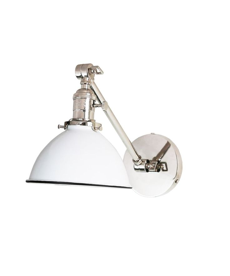 Jefferson Single Long Arm Wall Sconce with White Enamel Shade, Polished Nickel