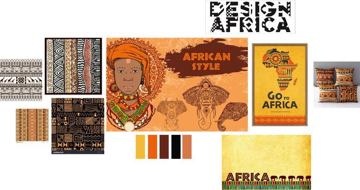 African style: veel rustige kleuren, meer naar de oranje/bruinere tinten. Heel veel gebruik van versieringen, veel patronen die terugkomen, gebruik van lijnen en prints