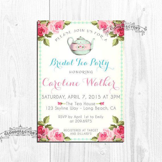 13 best images about Kitchen tea invites – Bridal Shower Invitations Tea Party Theme