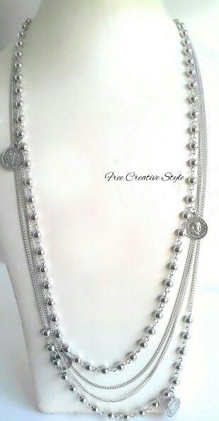 Leggera collana con originali sterline in acciaio.  Senza nickel € 7 Visita il mio blog Link in Bio  #collana #collanalunga #sterlina #moneta #gioiello #handmade #fattoamano