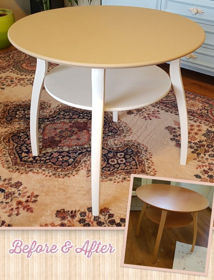 Oak table make-over. Paints used: Rustoleum's Antique White and Jeanne D'Arc Living's Antique Sand