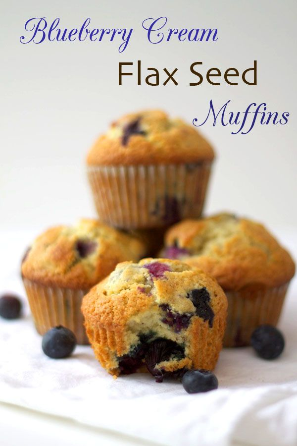 Blueberry Cream Flaxseed Muffins