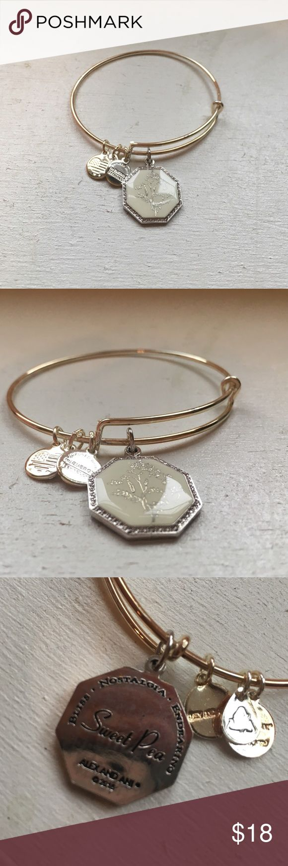 Alex and Ani bangle bracelet This true Alex and Ani bracelet has the pea plant April birth month flower charm on the side. Never been worn Alex & Ani Jewelry Bracelets