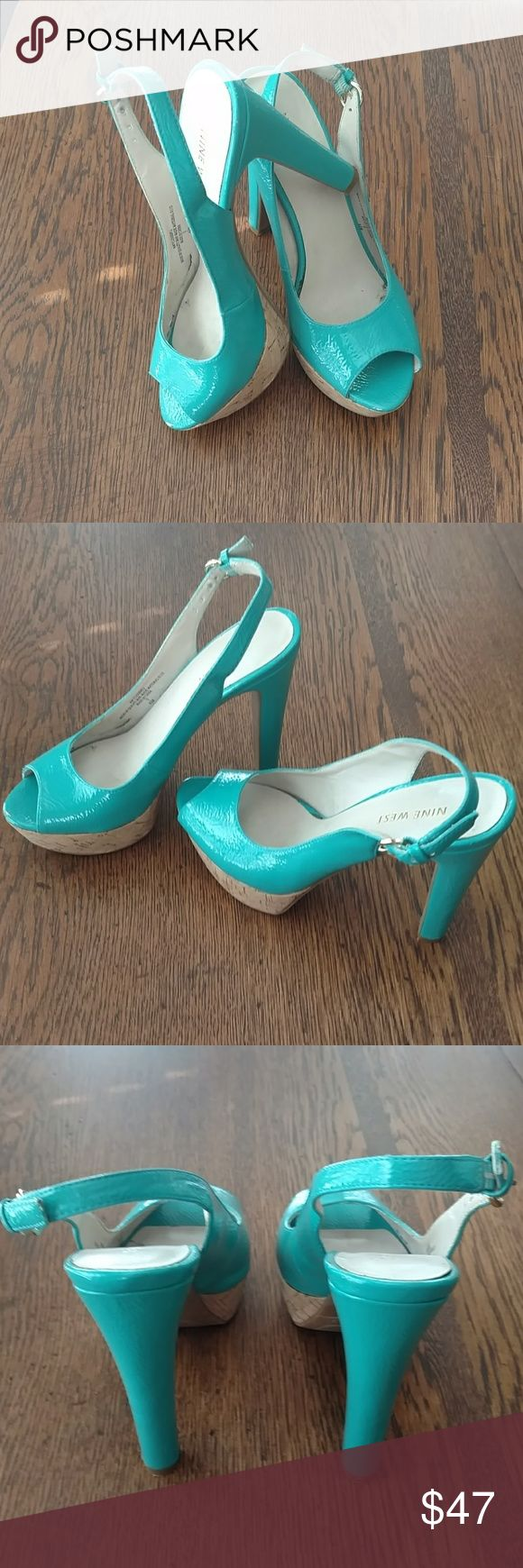 """Nine West """" Closer """" Slingback Platforms Very pretty!! Size 6.5 Turquoise color gold buckle, worn a couple of times. Adjustable back strap and ribber soles and on the bottom of the heels. Very comfortable. Great condition with just 1 minor scratches seen in the last photo. Easy fix. Nine West Shoes"""