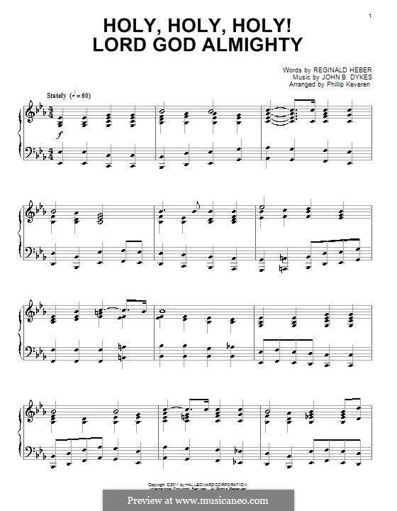 Holy, Holy, Holy! Lord God Almighty: For piano (high quality sheet