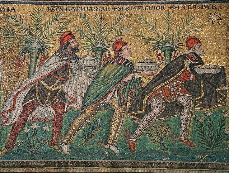 Bazylika Sant'Apollinare Nuovo w Rawennie, Włochy: Trzej Krółowie: Balthasar, Melchior i Gaspar)
