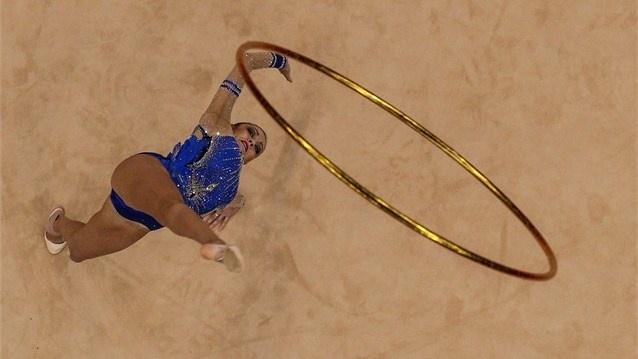 Evgeniya Kanaeva of Russia competes in the Individual All-Around Rhythmic Gymnastics.  (za aug 11, 2012)