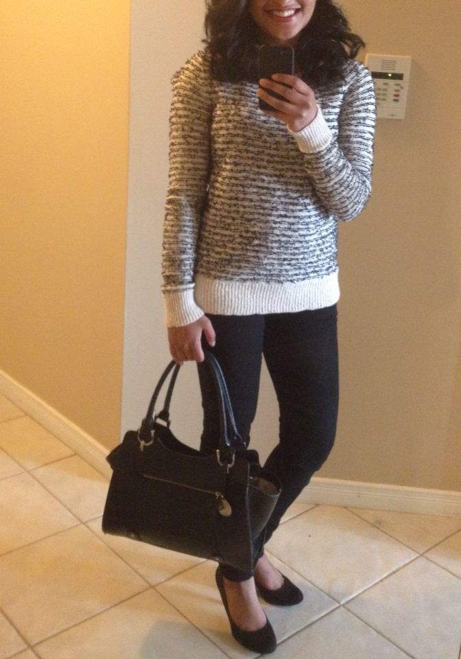 Work look ! Loft sweater, forever 21 jeans, Aldo shoes, and London fog bag
