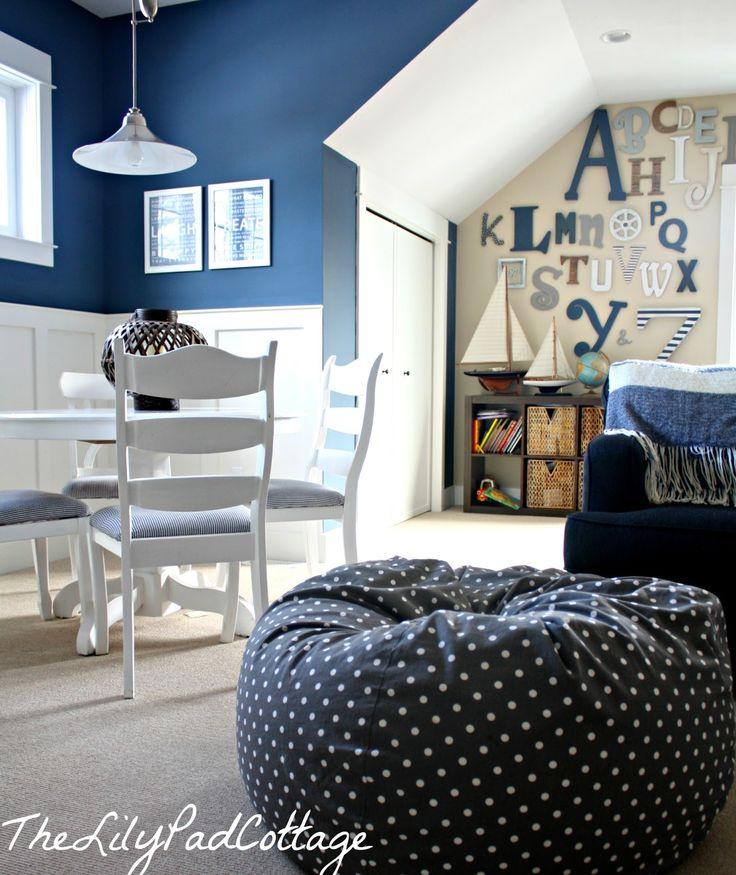 Benjamin Moore Bleeker Beige and Benjamin Moore Newburyport Blue Playroom from The Lily Pad Cottage