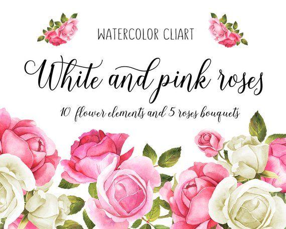 Rosa Hochzeit Clipart, Floral Clipart, Rose Hochzeit, weiße Rosen, Hochzeit Clip Ar …   – Flowers