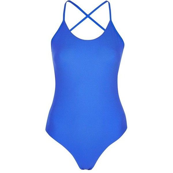 Topshop Slinky Ribbed Swimsuit ($35) ❤ liked on Polyvore featuring swimwear, one-piece swimsuits, sports swimwear, cross back swimsuit, sport swim suit, sports swim suits and one piece sport swimsuits