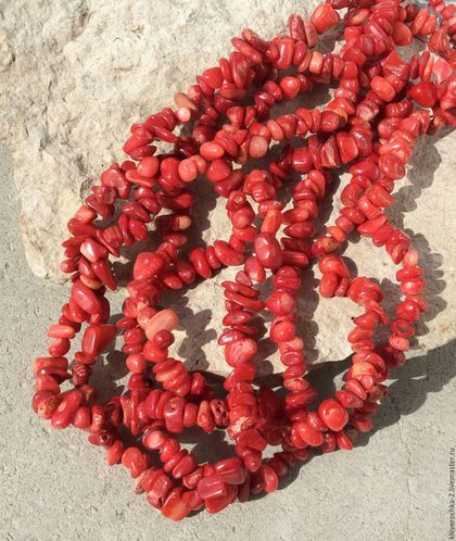 Для украшений ручной работы. Ярмарка Мастеров - ручная работа. Купить Коралл красный нить 40 см крошка натуральный бусины для украшений. Handmade.