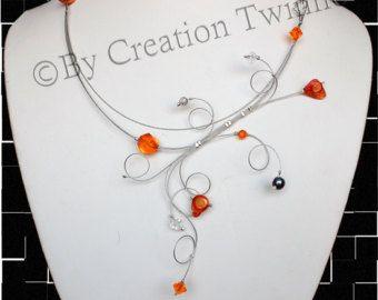 Collier turquoise et gris collier de demoiselles par creationtwinne