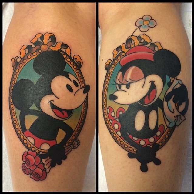 40 Classic Mickey and Minnie Mouse Tattoos – A Way To Preserve the Magic Check more at http://tattoo-journal.com/best-mickey-and-minnie-mouse-tattoo-designs-meaning/
