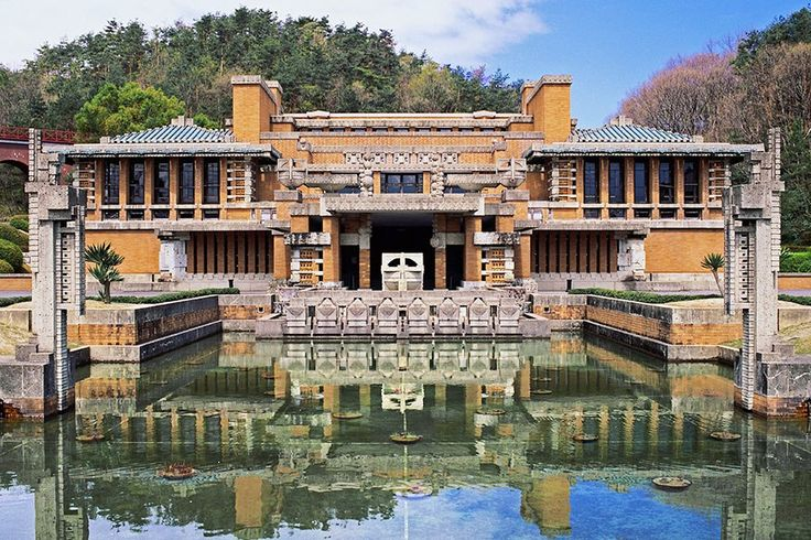 """""""I'd like to visit the Museum Meiji-Mura in Inuyama, Japan, where the main entrance hall and lobby of Frank Lloyd Wright's long-forgotten Imperial Hotel were relocated from Tokyo. The hotel had so many surprising details, both large and small. The interiors masterfully blended Japanese crafts, such as decorative carvings made of Oya stone."""" The original Imperial Hotel in Tokyo."""