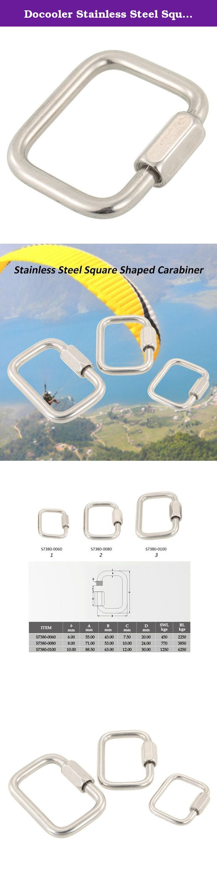 Docooler Stainless Steel Square Quick Link Locking Carabiner Hanging Hook Buckle for Paraglider Delta Wing Outdoor Camping Hiking. A good helper for outdoor camping, hiking, etc. Features: Made of hard stainless steel, high-strength and wear-resisting. Screw to lock the buckle, more secure and reliable. It can be used for hanging bottles, connecting tent and ropes, etc. A durable carabiner for paragliders and delta wings. Specifications: Material: Stainless steel Type: S7380-0060 /...