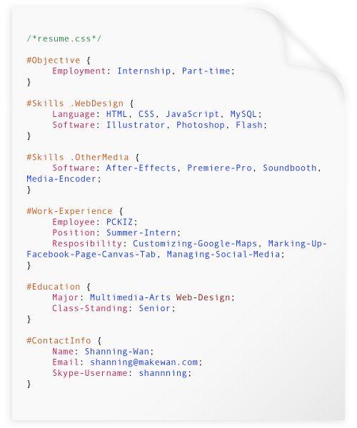 My Experimental Resume by Shanning Wan, via Behance