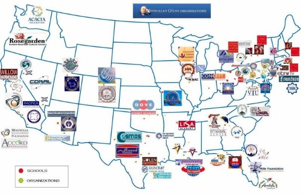 Islamist running 140 tax-funded charter schools in U.S ........... Map of Gulen schools and cultural institutions in the United States........ Christians can't get taxes for religious schools.....how do they?