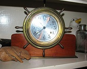 Seth Thomas Helmsman Ship Wheel Mantel Clock, vintage 1970's Nautical, Talley Industries, Trinidad Corp., Presentation Clock, Americana 97a