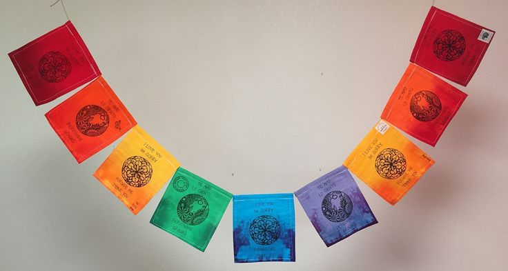 """Ho'oponopono Prayer Flag (All Proceeds to Families in Mexico) Free domestic shipping. Ho'oponopono is an ancient Hawaiian practice of reconciliation and forgiveness. One of the primary tenets of its modern practice is the contemplation of the four sacred phrases, printed in English and in Spanish on this prayer flag: """"I Love You"""" """"I'm sorry"""" """"Forgive Me"""" """"Thank You"""" The images on this prayer flag are block-printed and stamped by hand on each bright panel. These prayer flags are made in a..."""