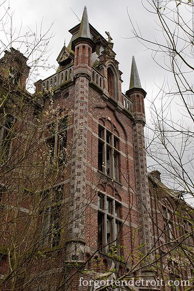 Castle of Mesen, Lede, Belgium. What remains of this building dates from the early 17th century. After 1796, the castle was used for local industry. In 1897, the castle was sold to a religious order that built the impressive neo-gothic chapel. After the First World War, an institution bought the complex and established a school. The school closed in the 1970s & the buildings were left abandoned.