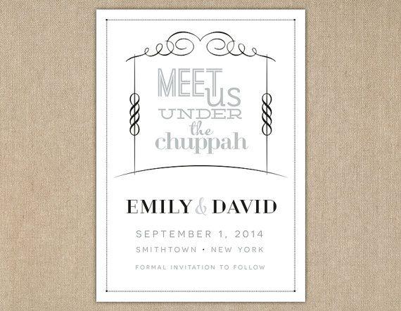 Save The Date Jewish Wedding Invitation Meet Us Under Chuppah DIY Printable