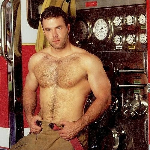 Naked hairy firemen with uncut cock