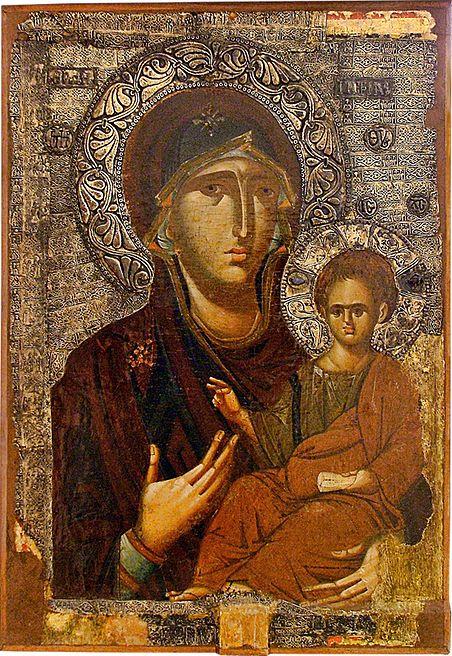 "Virgin Mary ""Hodegetria"". 2nd half of the 13th c. Icon gallery, Ohrid, FYRoM."