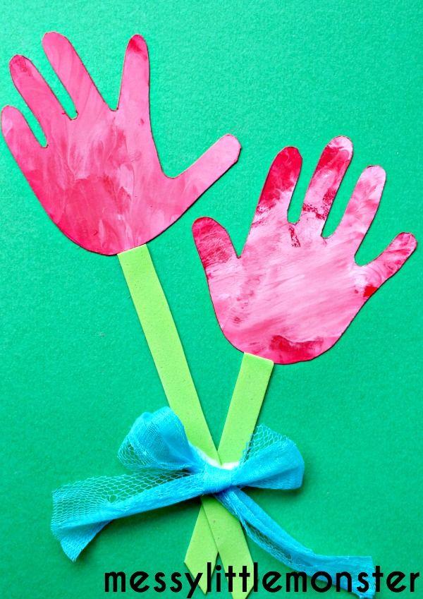 Flower Handprint Craft Daycare CraftsToddler CraftsCrafts For KidsSpring Art